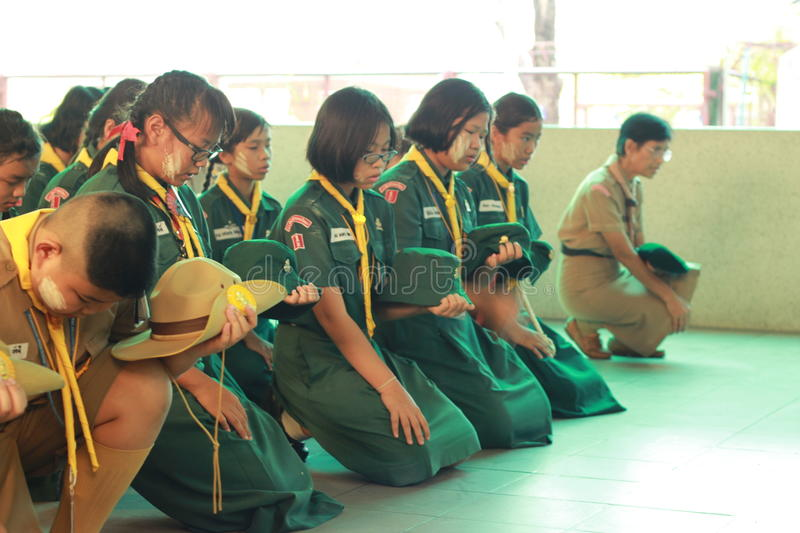 Thai student scouts camp royalty free stock images