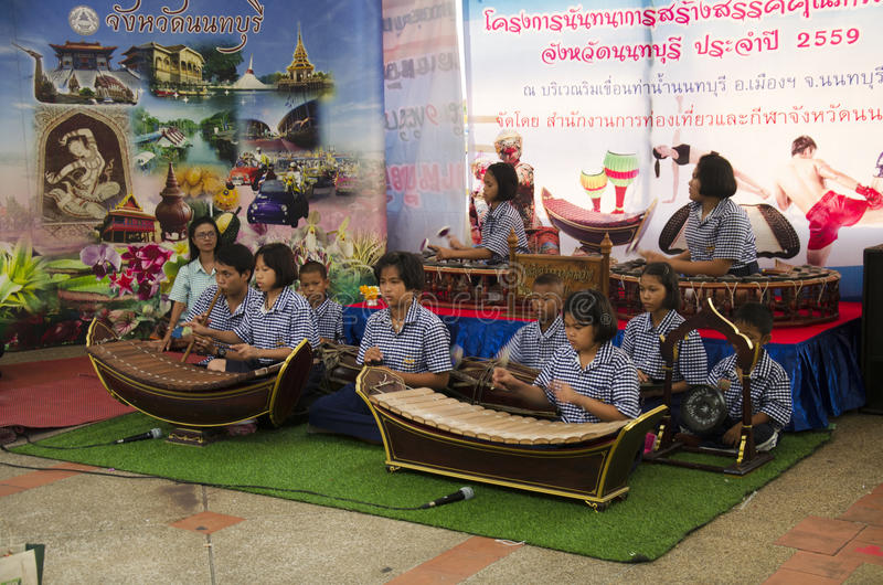 Thai students band playing traditional thai musical instruments. Concert show people in traditional culture thai festival on July 26, 2016 in Nonthaburi royalty free stock photos