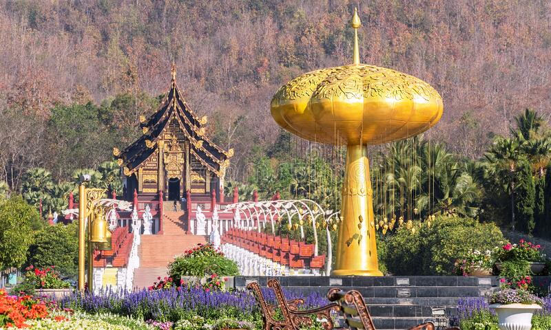 Chiang Mai Ancient Buddhist Temple Thailand. Thai style Buddhist temple in Rajapruek city park in Chiang Mai, Thailand stock image