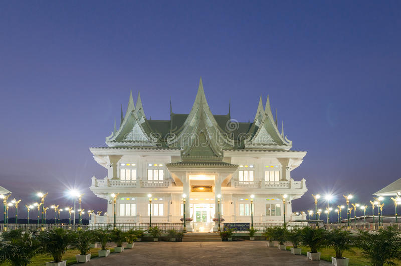 Thai style building built as a residence of royalty at Wat ku, P. Thai style building in evening, built as a residence of royalty at Wat ku, Pakkret, Nonthaburi stock photo