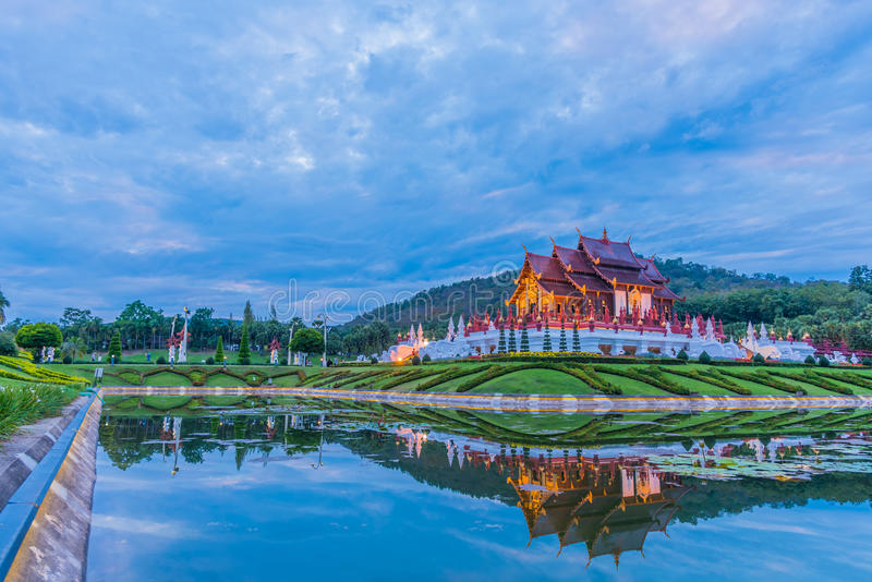 thai style building in Royal Flora temple . stock photography