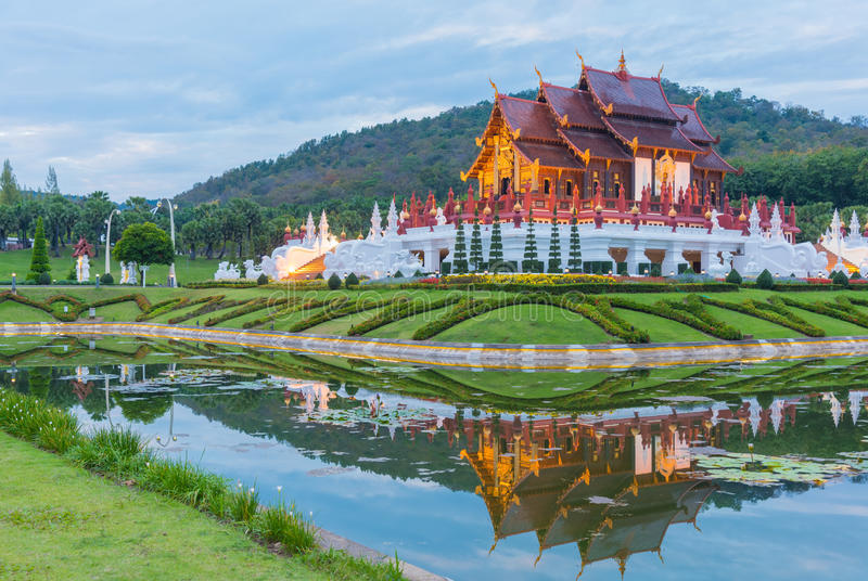 thai style building in Royal Flora temple . stock photos