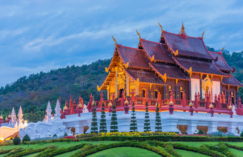 thai style building in Royal Flora temple . stock photo