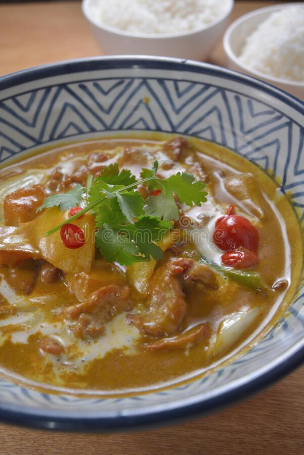Chilly Curry Beef. Thai style Chilly stew curry beef rice stock photo