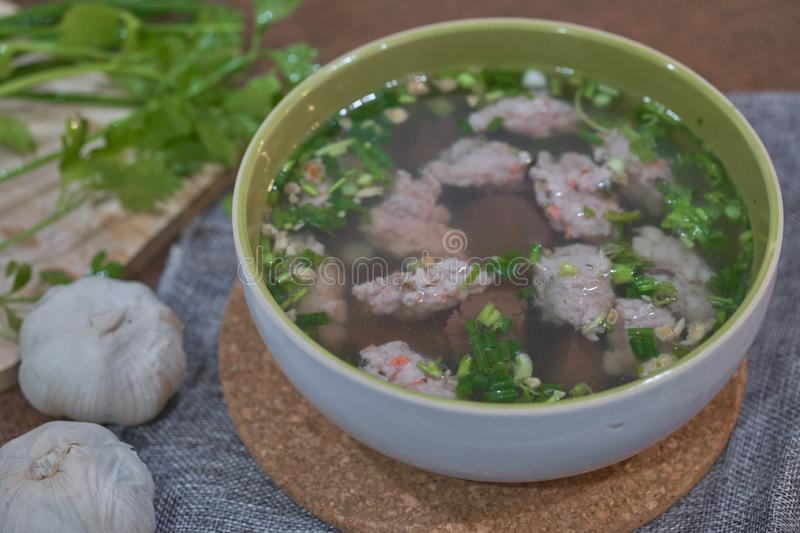 Thai Style Clear Soup with Congealed pork blood. Food concept royalty free stock photo