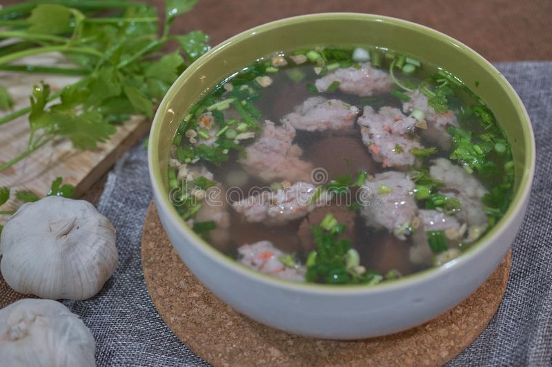 Thai Style Clear Soup with Congealed pork blood. Food concept royalty free stock images