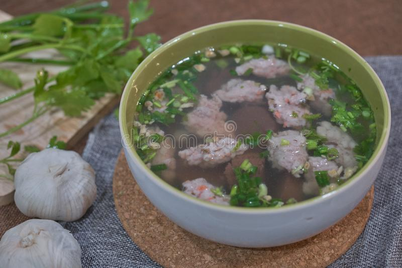 Thai Style Clear Soup with Congealed pork blood. Food concept stock photo