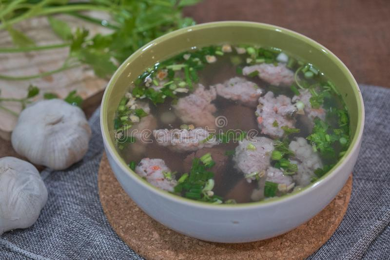 Thai Style Clear Soup with Congealed pork blood. Food concept stock photos