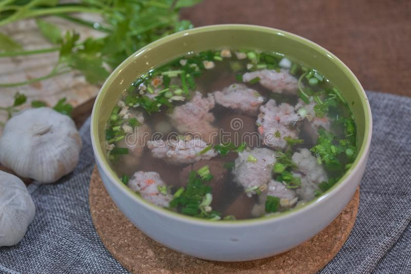 Thai Style Clear Soup with Congealed pork blood. Food concept stock photography