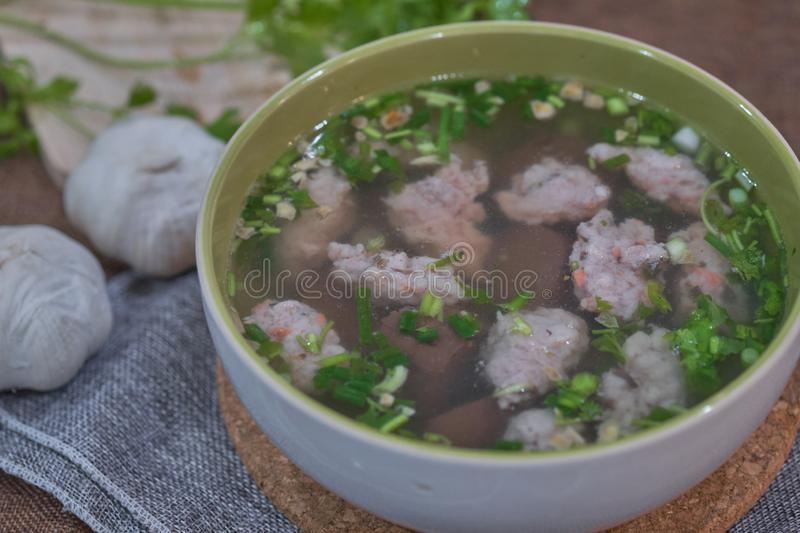 Thai Style Clear Soup with Congealed pork blood. Food concept royalty free stock photos