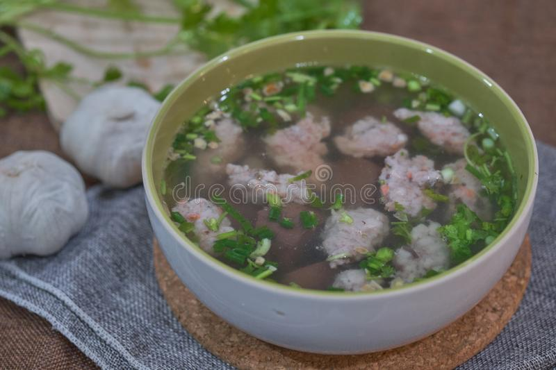 Thai Style Clear Soup with Congealed pork blood. Food concept stock images