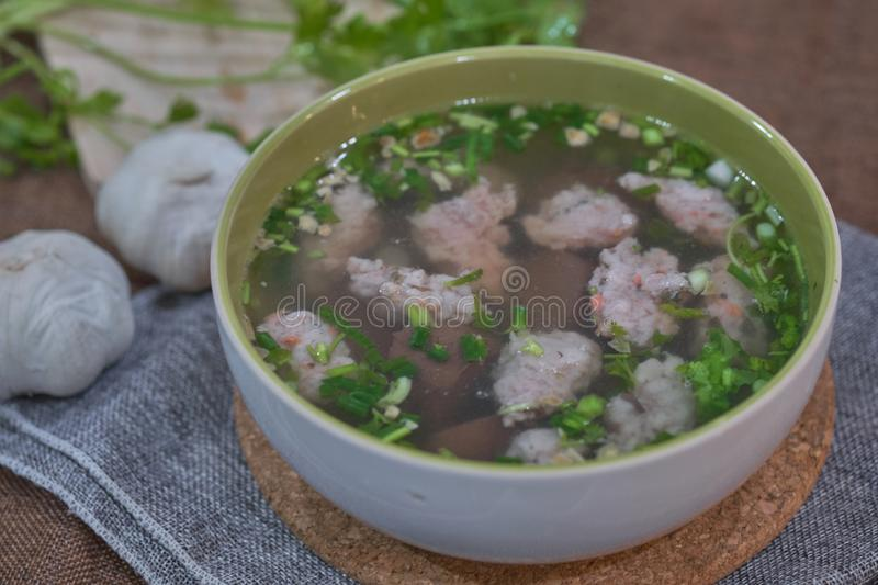 Thai Style Clear Soup with Congealed pork blood. Food concept royalty free stock photography