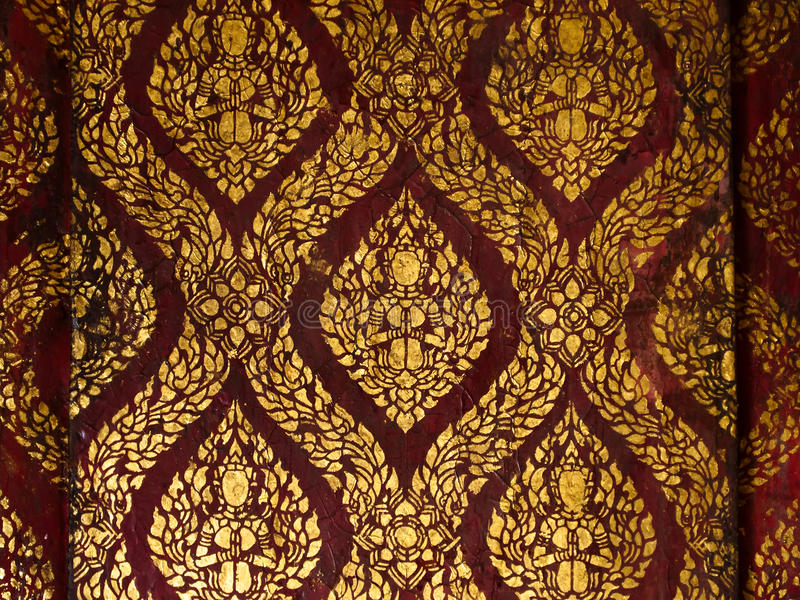 Thai style gold painting stock image