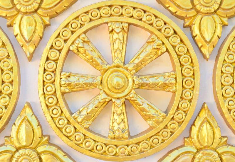 Thai style golden molding wheel of life pattern. On temple wall stock photo