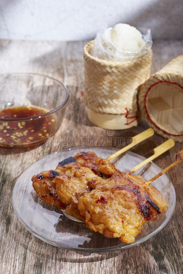 Thai style grilled pork royalty free stock photography