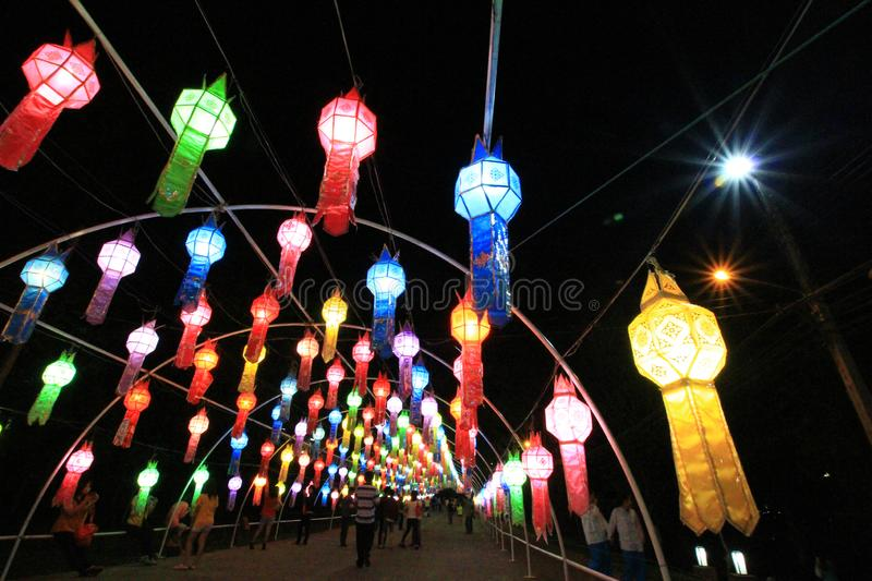 Thai style handmade paper lantern tunnel festival in northern of thailand in buddhist culture one of unseen festival in thailand stock photo
