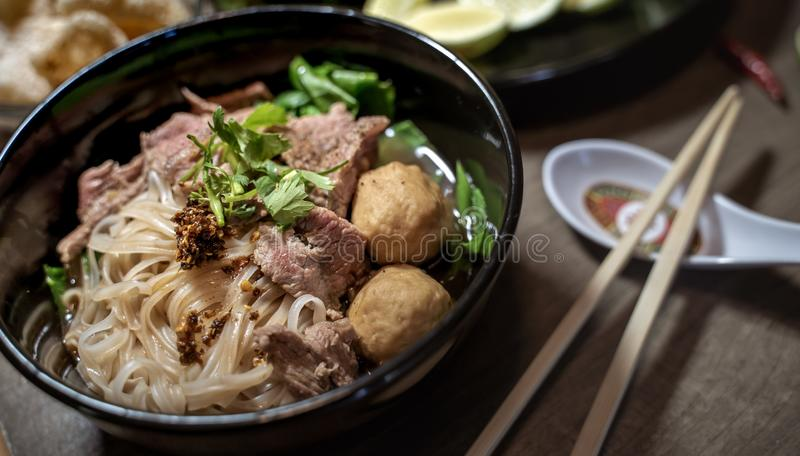 Thai style noodle blood soup,boat noodle,delicious dish,famous Thai noodle soup. Thai peoples call Boat Noodles. Close up or selective focus royalty free stock image