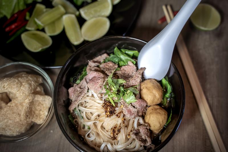Thai style noodle blood soup,boat noodle,delicious dish,famous Thai noodle soup. Thai peoples call Boat Noodles. Close up or selective focus stock photo