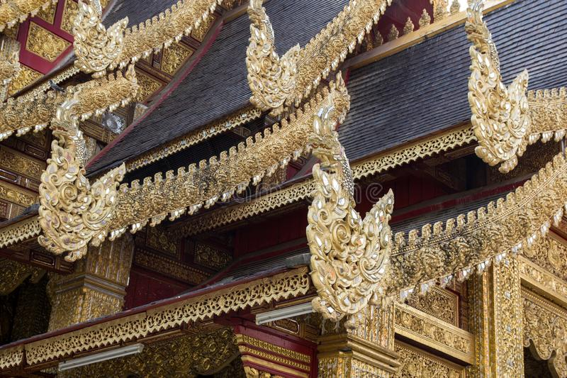 Thai style pattern on the temple roof of buddhist temple stock photos
