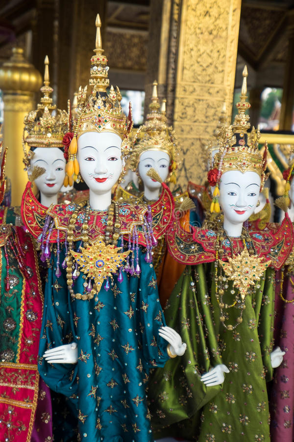 Thai style puppetry. Before street show royalty free stock photo