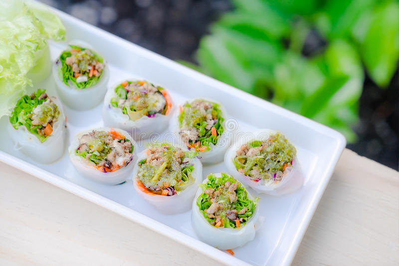 Thai style spicy sushi roll stock image