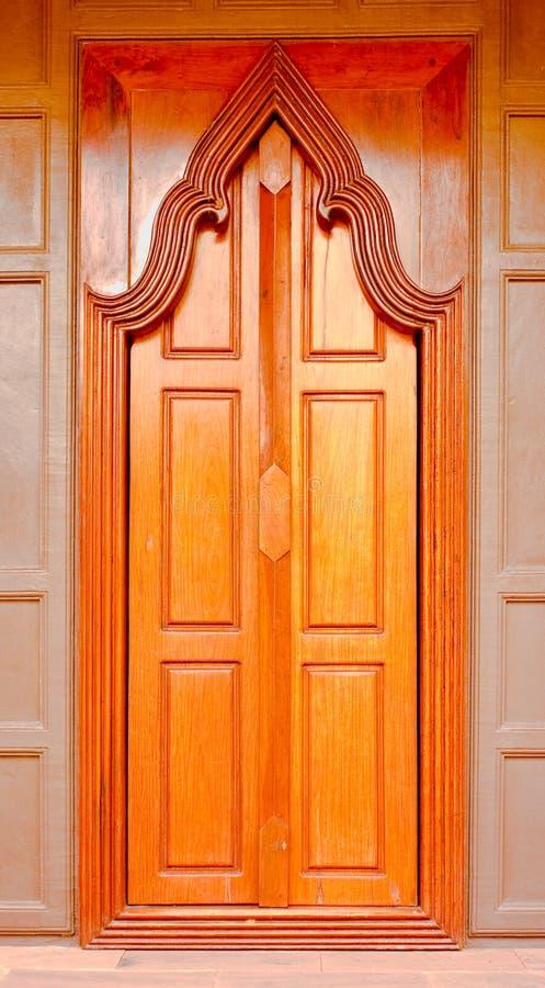 Thai  style  wooden temple door