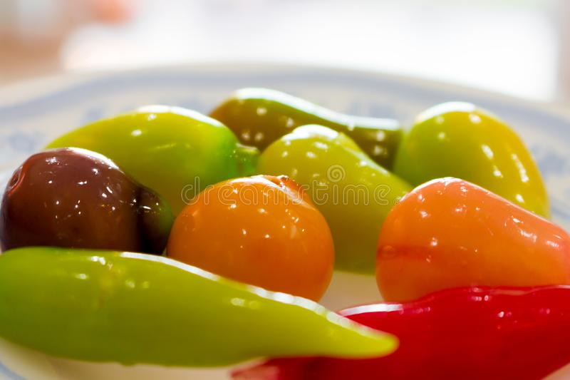 Thai sweet dessert in bowls. Colorful Thai desserts. delicious. Isolated stock image