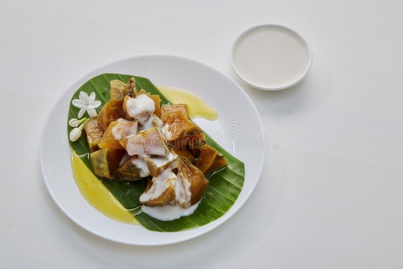 Thai sweet food pumpkin royalty free stock photos
