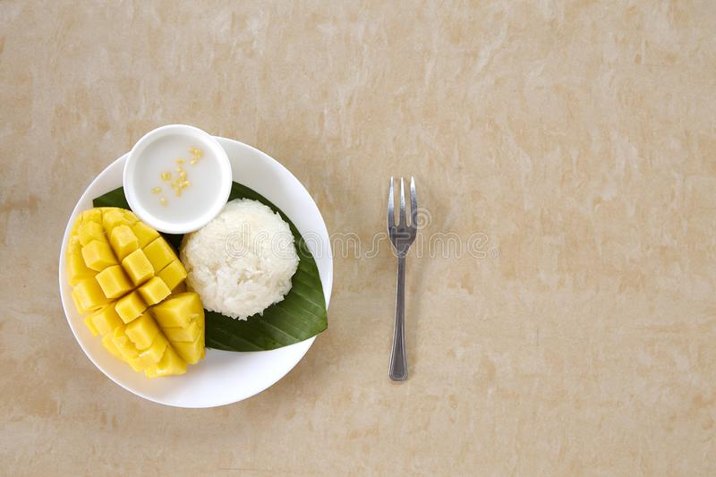 Thai sweet sticky rice with mango royalty free stock photography