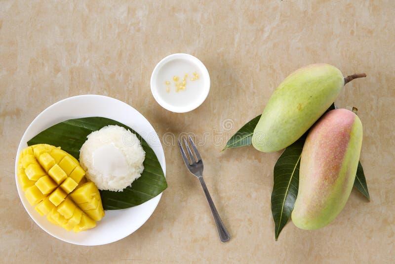 Thai sweet sticky rice with mango royalty free stock image