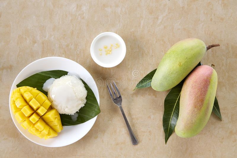 Thai sweet sticky rice with mango royalty free stock images