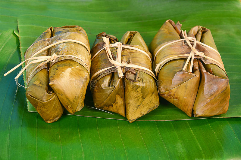 Thai sweets bunch of mush on banana leaf royalty free stock image