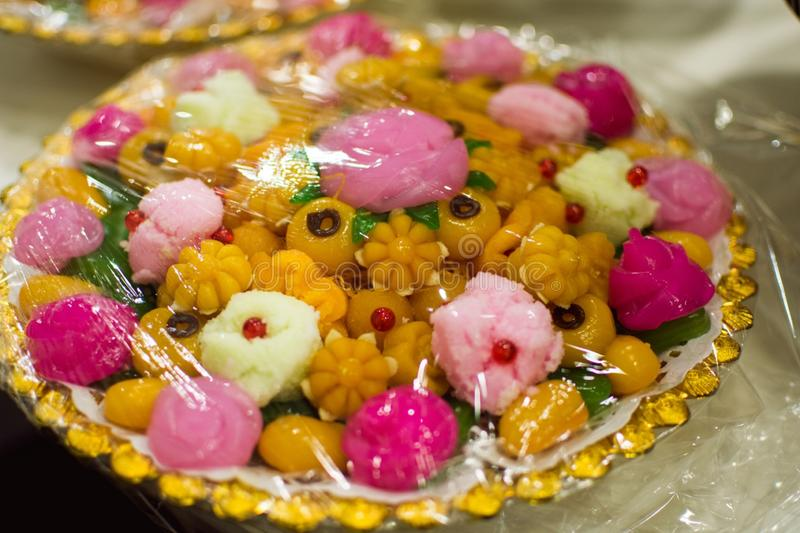 Thai sweets on the golden tray stock images