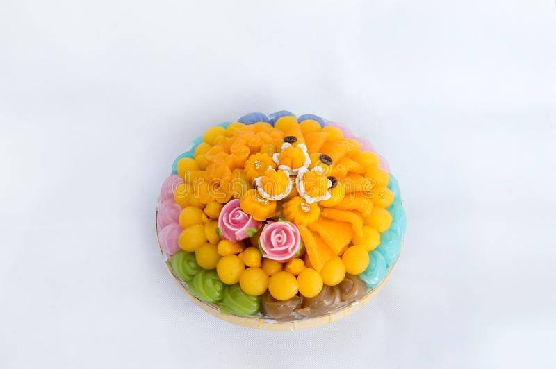 Thai sweets, or Khanom Thai have unique, colorful appearance and distinct flavors. The art of Thai desserts have been passed down. Through the generations. Thai stock image