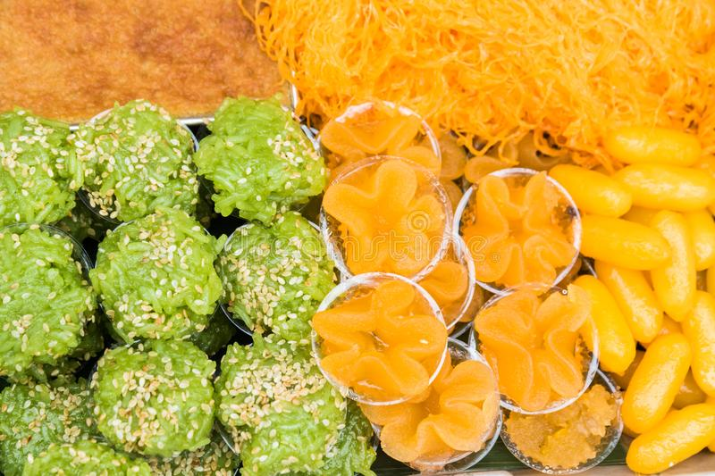 Thai desserts. Thai sweets, or Khanom Thai, have unique, colorful appearance and distinct flavors. The art of Thai desserts have been passed down through the royalty free stock photo