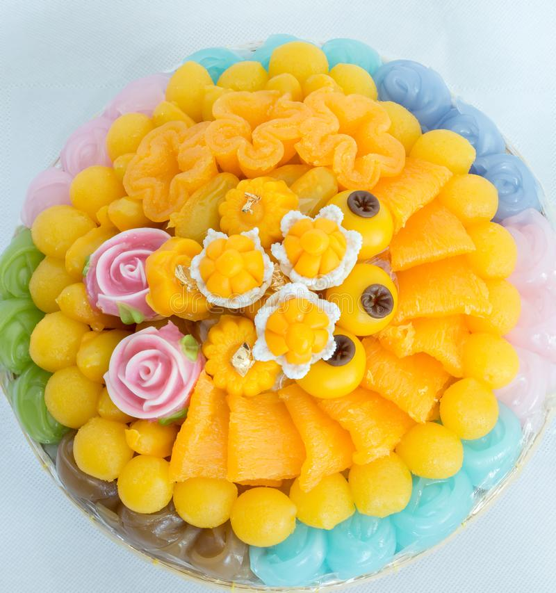 Thai sweets, or Khanom Thai have unique, colorful appearance and distinct flavors. The art of Thai desserts have been passed down. Through the generations. Thai royalty free stock photos