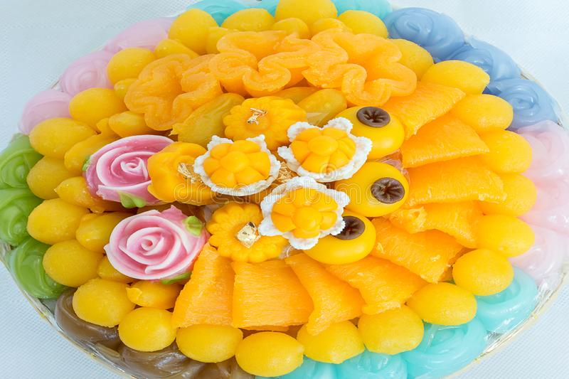 Thai sweets, or Khanom Thai have unique, colorful appearance and distinct flavors. The art of Thai desserts have been passed down. Through the generations. Thai stock photography