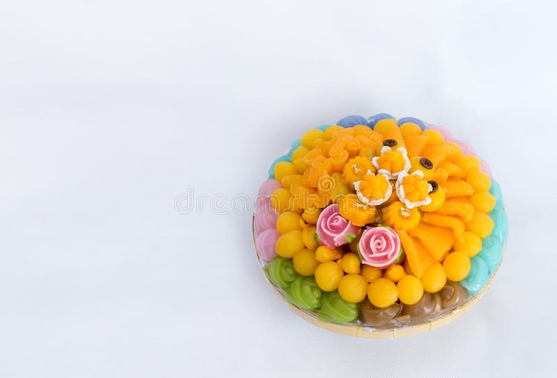 Thai sweets, or Khanom Thai have unique, colorful appearance and distinct flavors. The art of Thai desserts have been passed down. Through the generations. Thai royalty free stock photo
