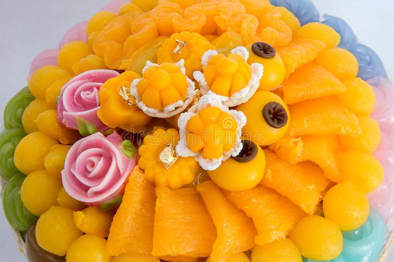 Thai sweets, or Khanom Thai have unique, colorful appearance and distinct flavors. The art of Thai desserts have been passed down. Through the generations. Thai stock images
