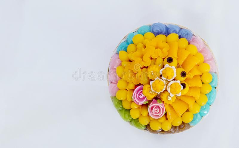 Thai sweets, or Khanom Thai have unique, colorful appearance and distinct flavors. The art of Thai desserts have been passed down through the generations. Thai royalty free stock image
