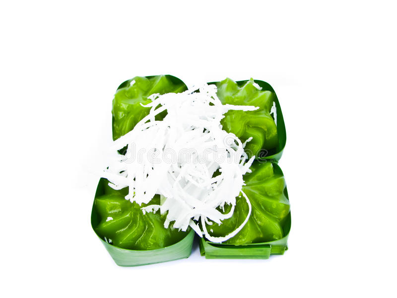 Thai sweets in leaf cup royalty free stock images