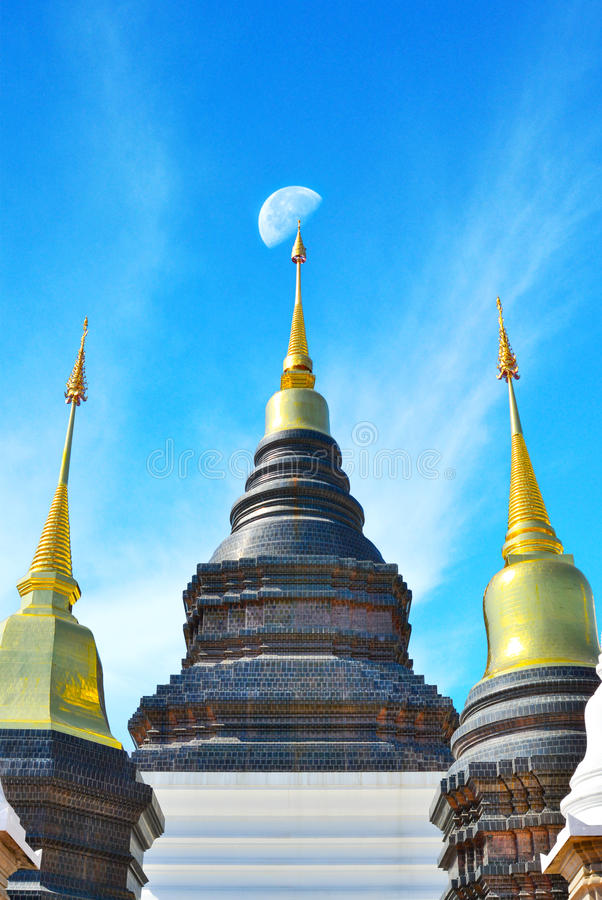 Thai tample architecture. Tample,Jadee architecture on blue sky stock image