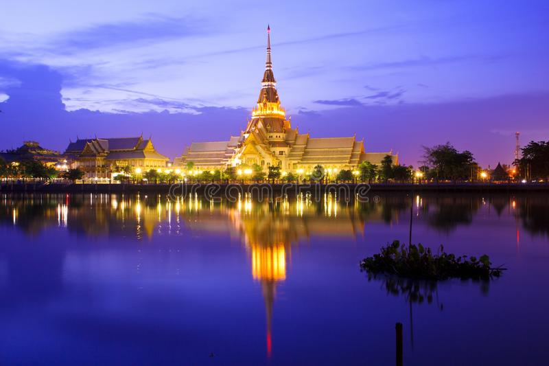 Thai tample reflection. In river sky royalty free stock photography