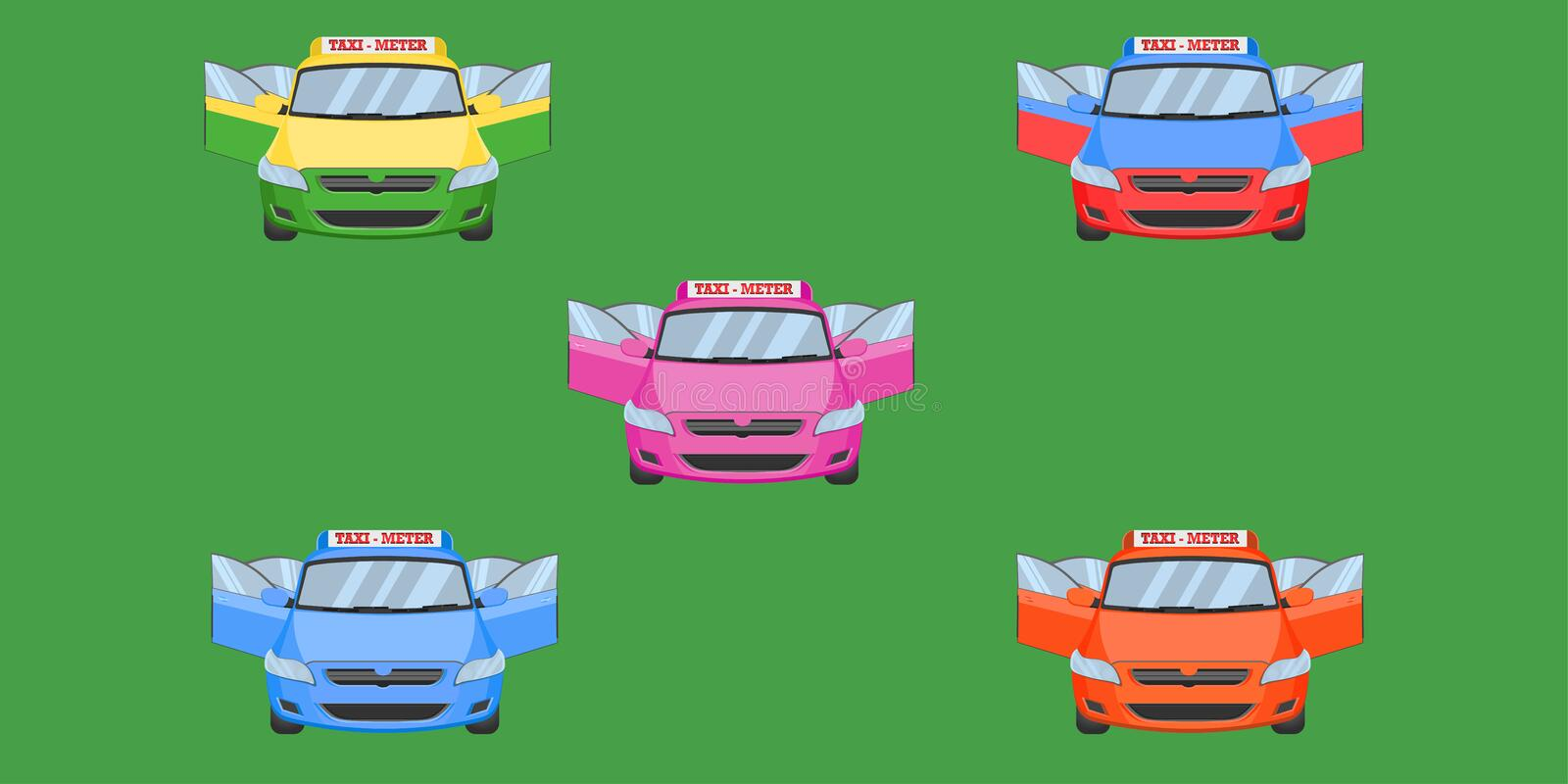 Thai taxi  cap car front back view open door transport service passenger vehicle type yellow green purple blue orange red vector vector illustration
