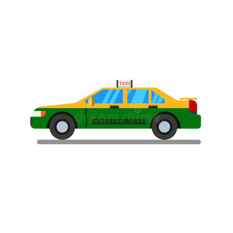 Thai Taxi flat design with isolated white background vector.Thai personal taxi-meter cab flat design. Style stock illustration