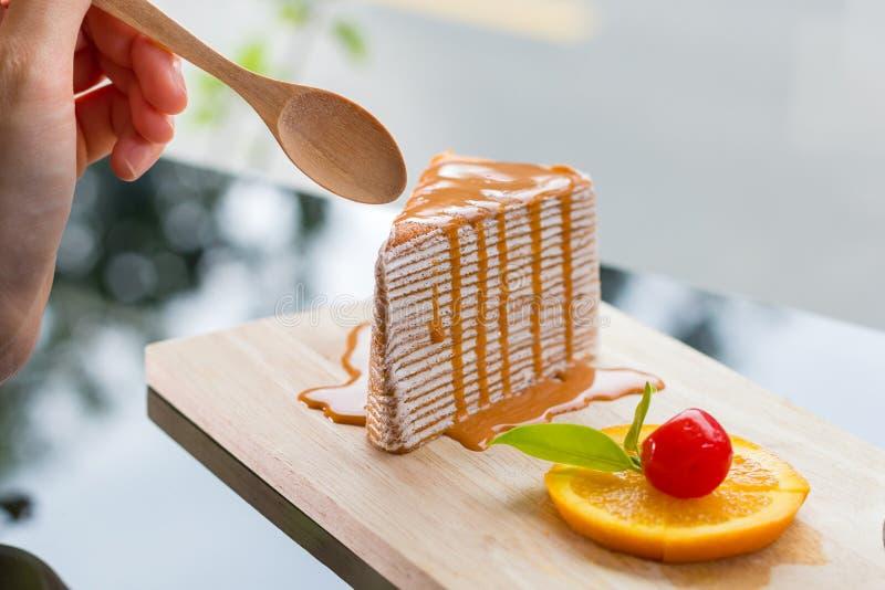 Thai tea crape cake stock image