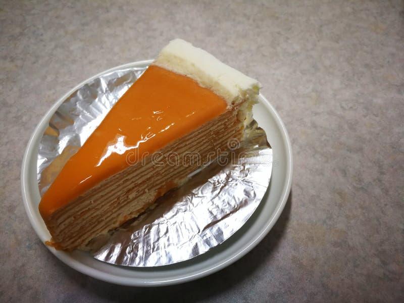 Thai tea crape cake sweet homemade cake of Thailand dessert stock photo
