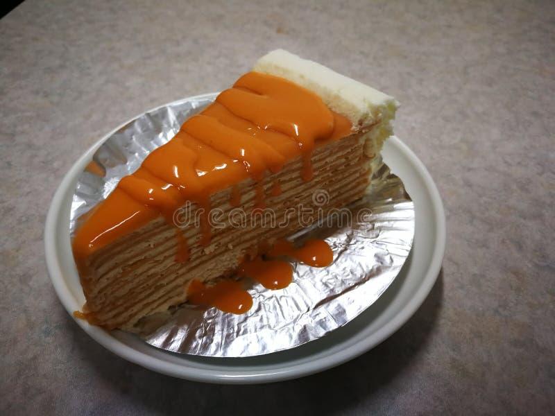 Thai tea crape cake sweet homemade cake of Thailand dessert stock photography