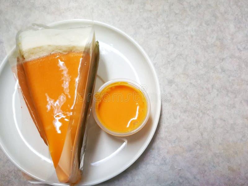 Thai tea crape cake sweet homemade cake of Thailand dessert royalty free stock images