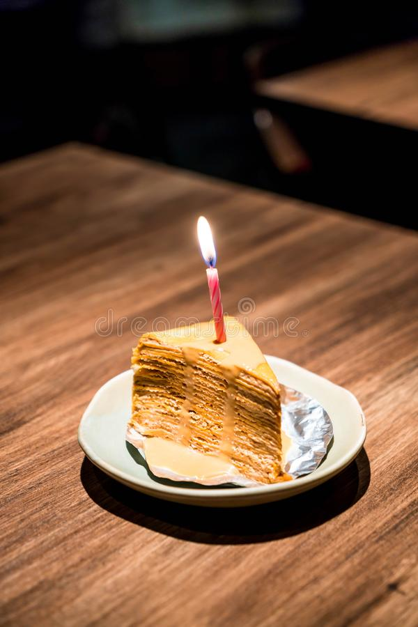 Thai tea crape cake royalty free stock images
